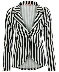 KRISP Womens Black White Striped single buttoned draped Nautical Cropped Blazer Jacket Waterfall Casual Boyfriend Coat Size 8 10 12 14 (9272) (8, Black/White) KRISP, http://www.amazon.co.uk/dp/B008I251HY/ref=cm_sw_r_pi_dp_SdqVqb17ZNRVT