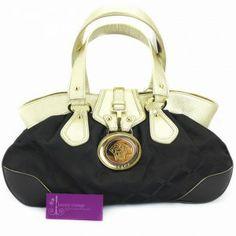 a5ee5d90a6d Shoulder- Bag- COLOR-Black  Gold- MATERIAL-Leather With Canvas-  HARDWARE-Gold- DIMENSIONS-L 40 38 X H 23 X W 14 cm- CONDITION-Fair-. LUXURY  VINTAGE