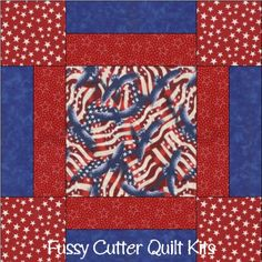 Patriotic American Flag Eagle Stars Fabric Easy Pre-Cut Quilt Blocks Kit