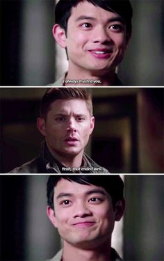 11x21 All In The Family // Kevin: I always trusted you. Dean: Yeah, that ended well.