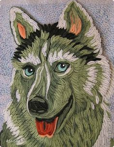 Pintura mural dibujo Quilling Dog banda de papel ulybaka foto 1