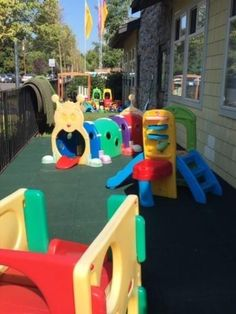 Our 2.75-inch thick rubber playground tiles offer design flexibility with a full complement of optional shapes, including inside corners, outside corners, and beveled edges. These allow for a multitude of design options for playgrounds. Playground Mats, Playground Safety, Preschool Playground, Playground Flooring, Outdoor Playground, Rubber Tiles, Outdoor Play Areas, Recycled Rubber, Playgrounds