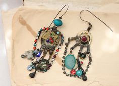 chandelier assemblage earrings with druzy and by nearlylost, $60.00