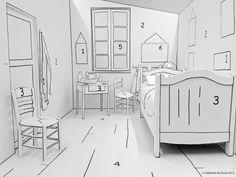 """Musée des Beaux-Arts à Mons. L'activité « Range ta chambre » présentée au sein de l'exposition Van Gogh permet de participer à la création d'une œuvre de l'artiste! Armés de pastilles colorées autocollantes, les enfants """"peignent"""" la reconstitution en 3D de l'œuvre « La Chambre »."""