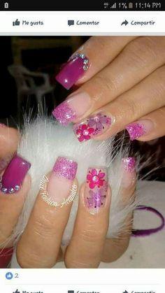 Cute Nails, Pretty Nails, Bella Nails, Flower Nails, Creative Nails, Real Flowers, Nail Arts, Summer Nails, Flower Designs