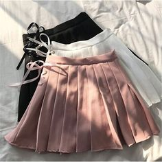 Womens cute College wind Uniforms Skirt For Women Japanese Students COS Solid 3 Color Empire A-line Pleated Mini Lace UP Skirts