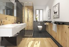 Bathroom with wood Deco, Bathroom Inspiration, Double Vanity, Toilet, Bathtub, Wood, Recherche Google, Image, Shower Screen
