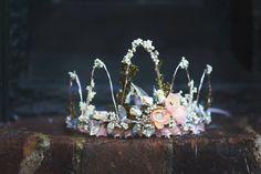 Flores corona corona corona de hada peluca de bodas