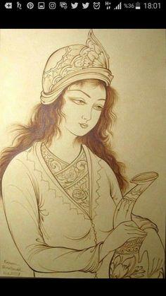 Rajasthani Painting, Iranian Art, Leather Art, Chinese Painting, Funny Art, Islamic Art, Doodle Art, Female Art, Cute Art
