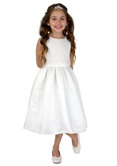 lavender by Us Angels Ivory Flower Girl Satin And Lace Sleeveless Lace Popover Bodice With Full Skirt- Girls 4-6x