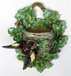 Hugo Lonitz Majolica bird with oak leaf wall pocket vase.