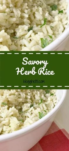 Take ordinary rice to the next level with this Savory Herb Rice recipe; perfect side dish with any meal. Herb Rice Recipe, Savoury Rice Recipe, Savory Rice, Savory Herb, Rice Recipes, Healthy Recipes, Delicious Recipes, Healthy Foods, Chicken Recipes