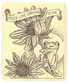 """{Single Count} Unique & Custom (3 1/2"""" by 4 1/4"""" Inches) """"Feels Like Spring To Me Text, Sunflowers & Frog Scene"""" Rectangle Shaped Genuine Wood Mounted Rubber Inking Stamp"""