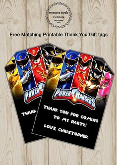 Get Free Thank you Tag ! Power Rangers Invitation, Power Ranger Birthday, Power Ranger Movie Invite, Mighty Morphin Power Ranger invite