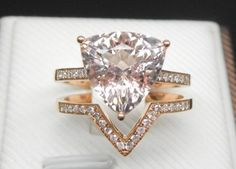 Engagement Ring Set 3 Carat Morganite Ring With by stevejewelry