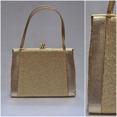 Vintage bag 1960s / 1970s gold metallic by VintageGreenClothing