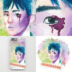 my watercolor painting of  #Baekhyun from #exo #kpop more works on https://society6.com/katkatekel