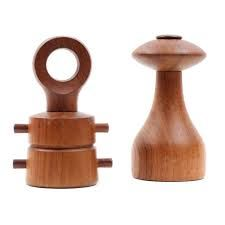 A pair of Danish Modern teak constructed salt and pepper mills by Jens Quistgaard for Dansk. Included are two teak wood constructed mills; each with compartments for salt and pepper corns. Salt And Pepper Mills, Teak Wood, Danish Modern, Mid Century, Loft, Bohemian, Cottage, English, Image