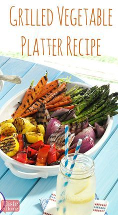 Grilled Vegetable Platter Recipe from Taste of Home | Add a boost of color to your picnic table with these quick marinated grilled vegetables.