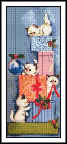 """'KITTEN STACK' Cross Stitch Chart (5"""" x 12½"""") Cats/Christmas - FREE UK P&P! #CelticRoseNeedlecraft"""