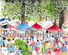 Print of my original watercolor painting of The Grove at Ole Miss. Printed on fine art paper and matted in white to 11 x Ships in a sturdy document mailer. Also available in boxed card sets and cotton tea towels. Watercolor Artists, Watercolor Print, Watercolor Paintings, The Grove Ole Miss, Ole Miss University, Ole Miss Game, Miss Wood, Ole Miss Football, Oxford Mississippi