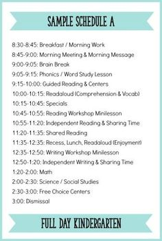 Sample Kindergarten schedule with a balanced literacy block.  For more possible schedules and a description of each component, click here:  http://learningattheprimarypond.com/blog/how-to-build-a-balanced-literacy-block-for-kindergarten/