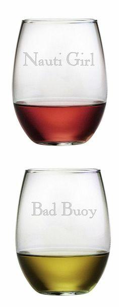 Nauti Girl & Bad Buoy Nautical Stemless Wine Glasses //