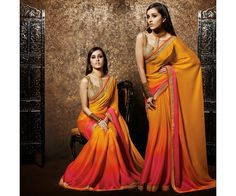 Mustard and Magenta Party wear Heavy Embroidered Saree