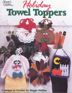 L008-01 Holiday Towel Toppers Crochet Pattern Download Have you ever thought of decorating the kitchen space in your home when the holidays come around each year? There is no reason to let this space go unforgotten when the Holiday Towel Toppers Pattern set gives you so many options.  http://www.maggiescrochet.com/products/holiday-towel-toppers-crochet-pattern-leaflet
