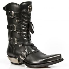 M.7993P-C1 Black New Rock Boots w/ Buckles & Boot Tips - Boots - Mens - Footwear