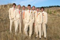 Love these dark cream suits with orange ties!!