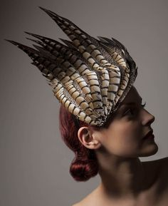 Artemis | Label: Vivien Sheriff | Spring/Summer 2013 | Dramatic sculptural toned feathered headpiece scattered with Swarovski crystal – an elegant stand-out headpiece perfect for Royal Ascot