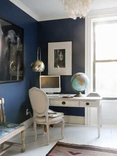 More navy and white.  Glam but simple office.