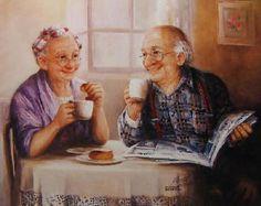 Beautiful elderly couple enjoying each other at breakfast.   By Dianne Dengel.