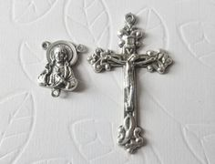 Rosary Parts Set, Sacred Heart Rosary Center, Ornate Crucifix, Rosary Supplies to Make Your Own Rosary