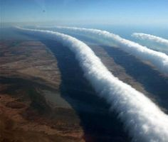 Morning Glory Clouds in Australia. Bourketown, on the Gulf of Carpentaria. This cloud formation occurs for just a couple of weeks in Sept/Oct, depening on conditions. A mecca for gliders and cloud appreciators alike.