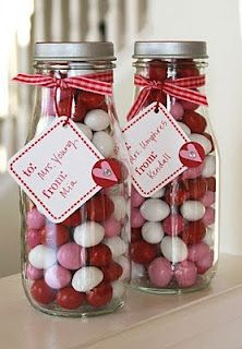 Cute gifts with recycled jars bottle crafts diy Starbucks Bottle Crafts, Starbucks Glass Bottles, Frappuccino Bottles, Candy Gifts, Jar Gifts, Gift Jars, Valentine Decorations, Valentine Crafts, Diy Bottle