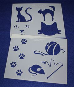 Cat-Cat Toy Stencils Mylar 2 Pieces of 14 Mil X - Painting /Crafts/ Templates Homemade Cat Toys, Yarn Ball, Stencil Painting, Cool Cats, Stencils, Shapes, Templates, Quilts, Cat Cat