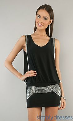 Sleeveless Studded Black Dress