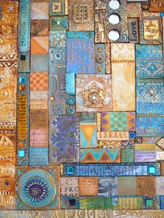 Painted polymer tiles -- Laurie Mika