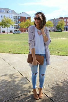 Women's Grey Open Cardigan, White Crew-neck T-shirt, Light Blue Ripped Skinny Jeans, Brown Leather Ballerina Shoes
