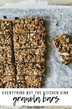 Enjoy these gluten free vegan granola bars. They are no-bake, chewy, protein-packed, naturally sweetened, and there are dried blueberries in them! #greenseggsandyams #pickyhusbandapproved  #vegangranolabars #veganrecipes #glutenfreegranolabars #blueberrybreakfastbars #blueberrygranolabars #whatveganseat #snacksonthego #easyrecipes Gluten Free Bars, Gluten Free Recipes For Dinner, Vegan Recipes, Bar Recipes, Vegan Granola Bars, Homemade Granola Bars, Vegan Bar, Vegan Food, Hiking Food