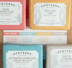Apoterra hat sich bei Ihren Verpackungen mehr gedacht, als allein ein hübsches Design zu zaubern: Anhand der Farben erkennt ihr auf den ersten Blick, welche Produkte für welche Haut bzw. welchen Anwendungsbereich geeignet sind! Apricot: Trockene Haut. Blau: Fettige Haut. Gelb: Alle Hauttypen. Grau: Körper-Pflegeprodukte #apoterra #skincare #soaps #aloevera #roseclay #seaclay #salt #activatedcharcoal #deadseasalt #coffee #cream #color #farbenlehre