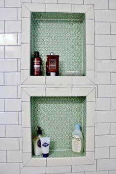 bathroom, penny tile, shower insert.