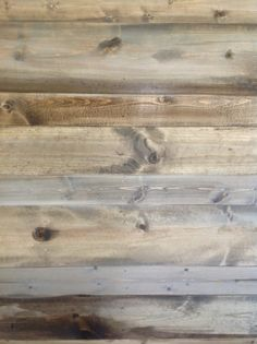 New pine planks, stained to look like salvaged and reclaimed wood. How-to make them look old using stains. Perfect for bedroom walls, niches, ceilings. Wood Plank Walls, Pine Walls, Wood Planks, Wood Flooring, Planked Walls, Plank Ceiling, Plywood Floors, Wood Paneling, Weathered Wood