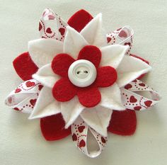 Valentine Hearts Red and White Felt Flower Pin with Vintage Button and Hearts Ribbon by Dorothy Design