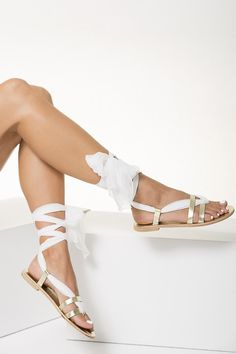 "Bridal Leather Sandals with silk laces ""Nephele"""