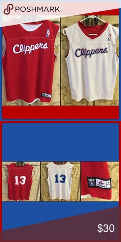 🆕 LA Clippers Jersey EUC. Red side has a couple of picks in material but not noticeable when worn. Tops