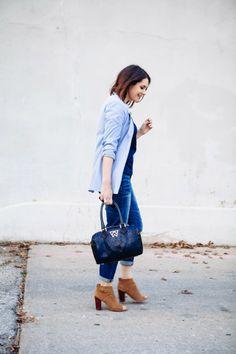 *Light blue cardigan + top + blue jeans + brown peep toe booties //  Kendi Everyday | The Blues