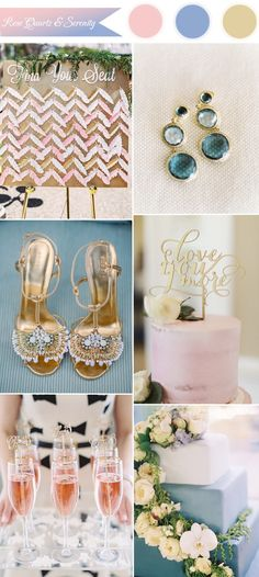 gold, rose and serenity wedding color combo inspiration ideas 2016